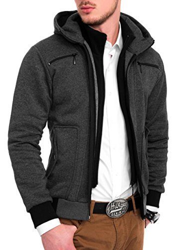 mk styles sweatjacke jacke hoodie kapuzenpullover slim fit herren grau. Black Bedroom Furniture Sets. Home Design Ideas